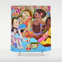 community Shower Curtains featuring Picnic in our community garden by Honouring Women by Jazmin Sasky