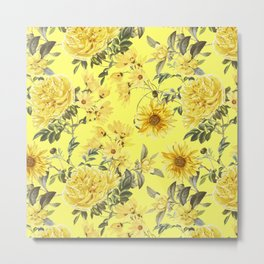 Vintage & Shabby Chic - Yellow Summer Flowers Garden Metal Print
