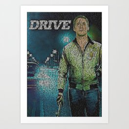 Text Portrait of Ryan Gosling with full script of the movie Drive Art Print