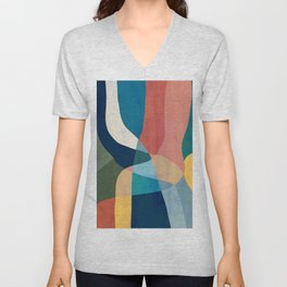 Waterfall and forest Unisex V-Neck