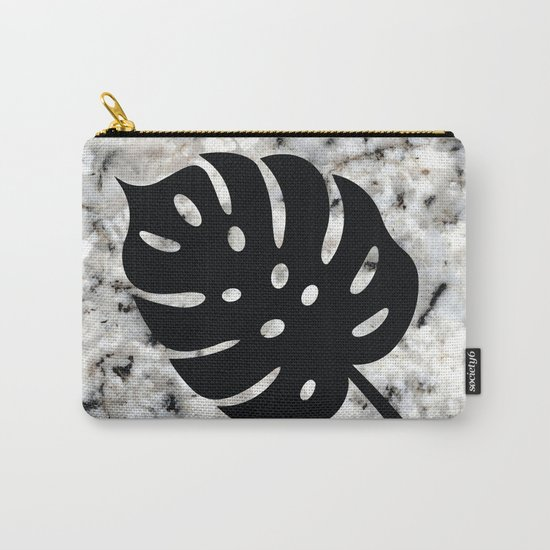 Tropical Leaves on Marble - Monstera I by fancyashelltees
