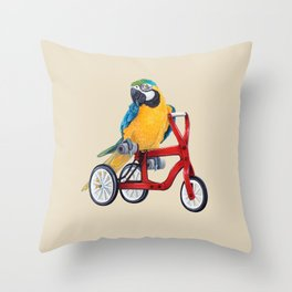 Parrot macaw on red bike Throw Pillow