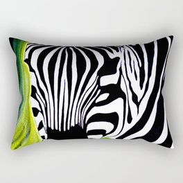 Green Black and White Zebra Rectangular Pillow