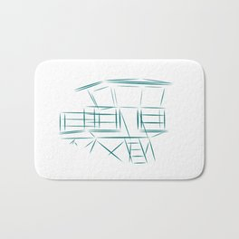 Lifeguard Tower Line Art Bath Mat