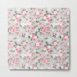 Cute floral pattern. Pink and white flowers. Metal Print