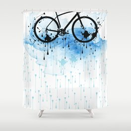 watercolor bicycle Shower Curtain