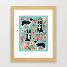 Border Collie cute florals dog gifts for collie black and white puppy dog herding dog Framed Art Print
