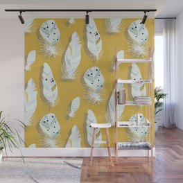 Feathers Mustard #homedecor Wall Mural