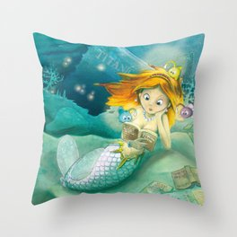 How mermaids get new books Throw Pillow