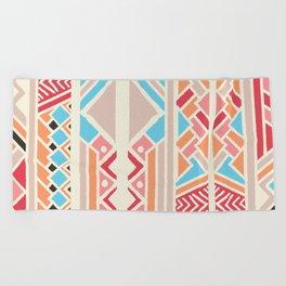 Tribal ethnic geometric pattern 033 Beach Towel