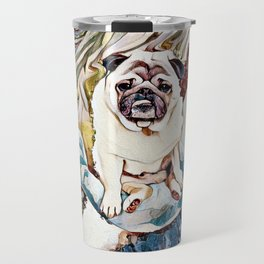 Pug Riding a Narwhal Through Space-Time Travel Mug
