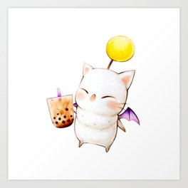 Moogle Bubble Tea Art Print