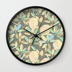 Leaf pattern | brown, pale yellow and green Wall Clock