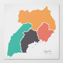 Uganda Map with states and modern round shapes Canvas Print