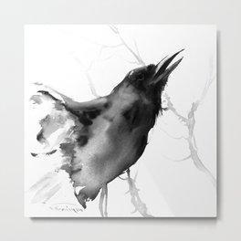 Gurgling Raven Metal Print