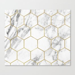 Gold marble hexagon pattern Canvas Print