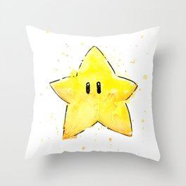 Invincibility Star Mario Watercolor Geek Gamer Art Throw Pillow