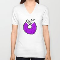 donut V-neck T-shirts featuring Donut by Launchpad Creations