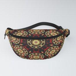 Gold on Red and Black Circular Mandala Fanny Pack