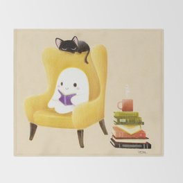 Ghost reading Throw Blanket