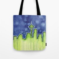 seattle Tote Bags featuring Seattle  by Olechka