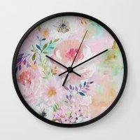 craftberrybush Wall Clocks featuring Acrylic rose garden  by craftberrybush