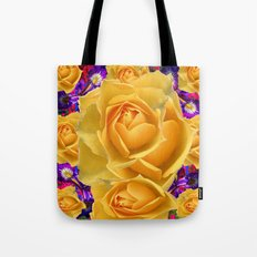 PURPLE ACCENTS GARDEN YELLOW ROSE FLOWERS Tote Bag