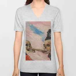 Skeletons Fighting portrait painting by James Ensor Unisex V-Neck