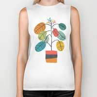plant Biker Tanks featuring Potted plant 2 by Picomodi