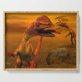 Awesome dilophosaurus Serving Tray
