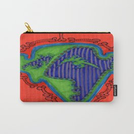 Purple and Green Face on Orange Carry-All Pouch