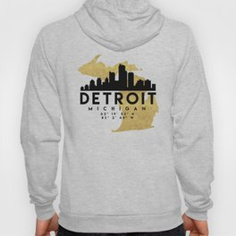 DETROIT MICHIGAN SILHOUETTE SKYLINE MAP ART Hoody