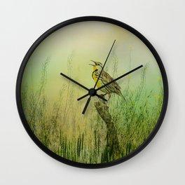 The Meadow Lark Sings Wall Clock