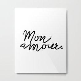 Printable Poster ''Bonjour Mon Amour'' French Decor, Printable Gift, Fashion Print Metal Print