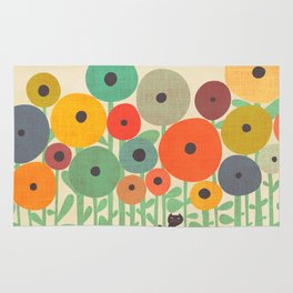 Cat in flower garden Rug