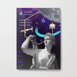 Ancient Gods and Planets: NASA Artemis program Metal Print