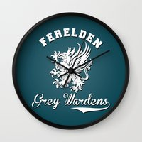 dragon age Wall Clocks featuring Dragon Age - Ferelden Grey Wardens by firlachiel