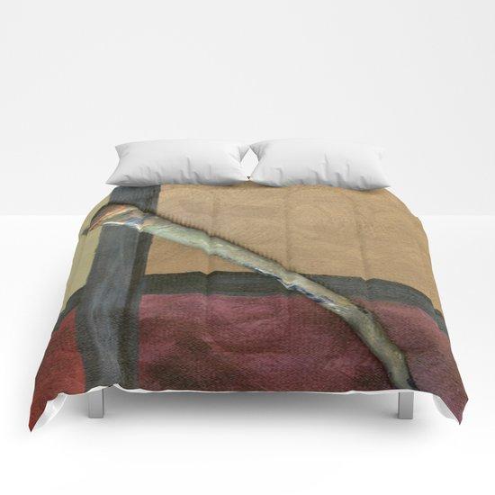 Artist Brush On Abstract Copper Canvas Artwork - Vintage - Modern Art - Painter Comforters
