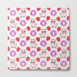 Cute happy fluffy cuddly funny Kawaii baby llamas, red ripe sweet summer strawberries, yummy little donuts white design. Metal Print