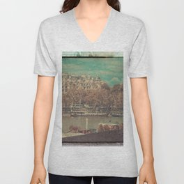 Paris Seine with Boats, Vintage Themed Orange and Teal Unisex V-Neck