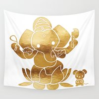 ganesha Wall Tapestries featuring Golden Ganesha by L'Atelier de Magie