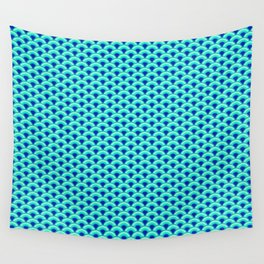Art Deco Wave Pattern, Turquoise and Cobalt Blue Wall Tapestry