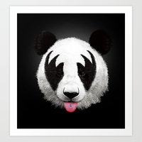 panda Art Prints featuring Kiss of a panda by Robert Farkas