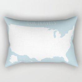 Our Travels USA Map in Light Blue Rectangular Pillow