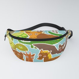 collection Funny cartoon Animals seamless pattern on blue background. Vector Fanny Pack