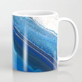 Dark Blue Flow II - Blue Striped Fluid Pour Painting Metallic Coffee Mug