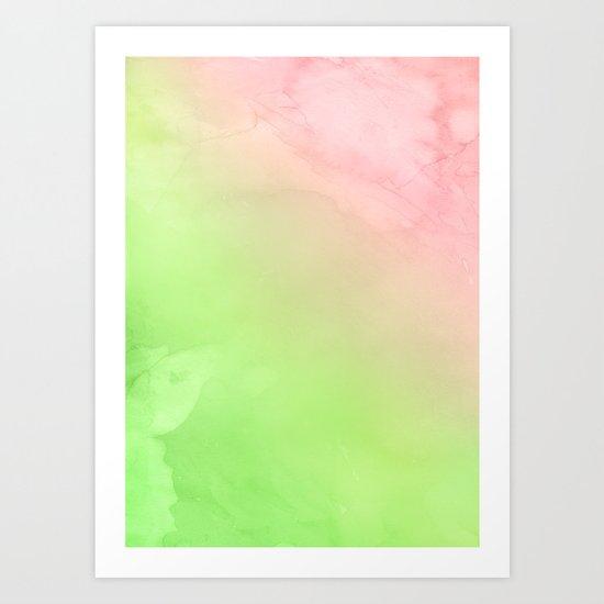 Greenery and Rose Quartz Art Print