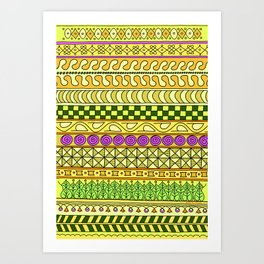 Yzor pattern 011 Yellow Things Art Print