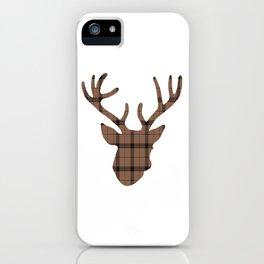 Plaid Deer Head: Dark Brown iPhone Case