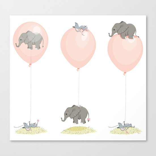 Elephant, globe and mouse Canvas Print
